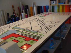 Groot printwerk van plattegronden en bouwtekeningen